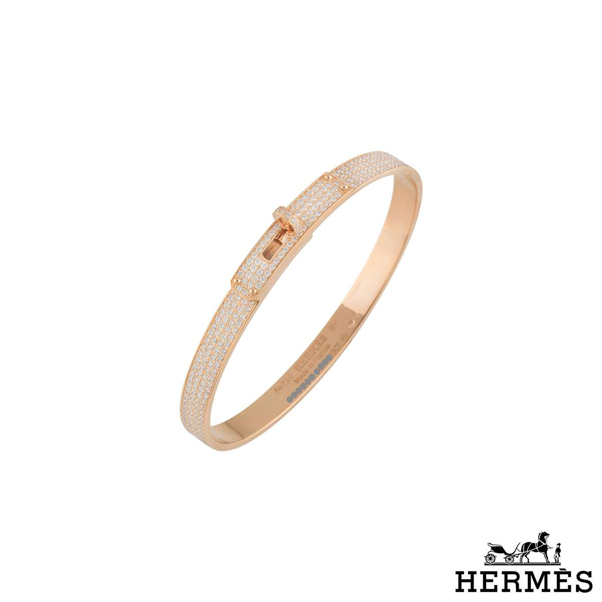 Hermes Rose Gold Diamond Kelly Bangle H109500B 00SH